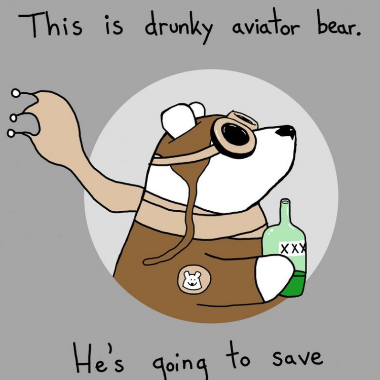 Teddy Land: Drunky aviator bear - Sebastien Millon