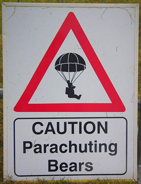Teddy Land: Warning sign parachuting bears