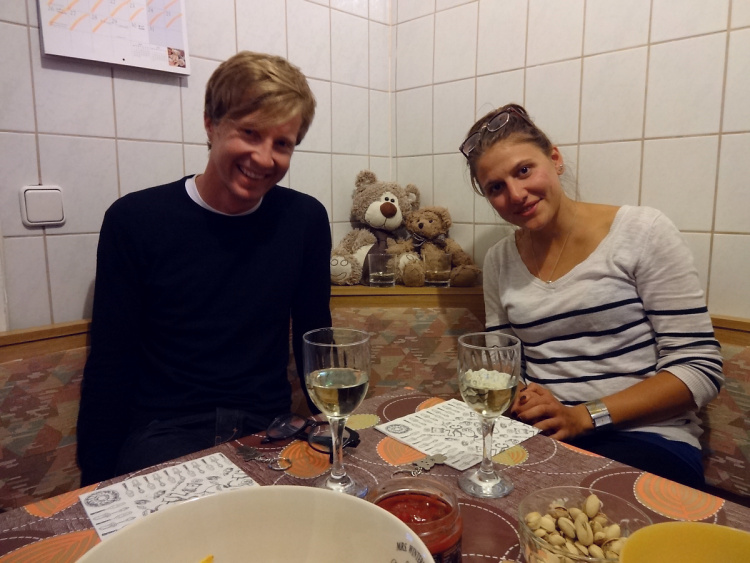 Teddy Land: Sharing white wine with Sam and Kami from New Zealand