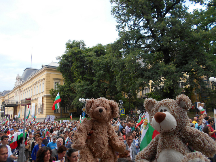 Teddy Land: Teddy Little Bear Joins Fresh Anti-Govt Protest in Sofia