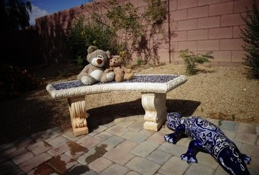 Our favorite bench with the Blue Nile crocodile - Las Vegas, Nevada