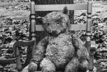 Caption from LIFE. Teddy bear, age 63 (in 1970).