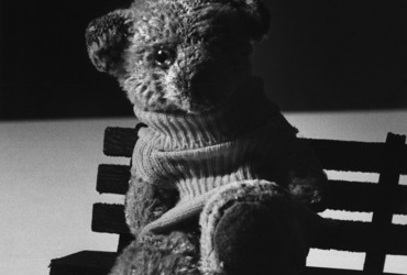 Caption from LIFE. One-Eyed Connolly, teddy bear, age 30 (in 1970).