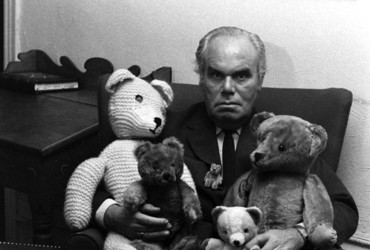 Unidentified man with his teddy bears, 1970.