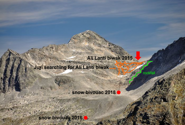In search of Ali Lanti biwak and my first snow bivouac, second for Juri - same time, same place