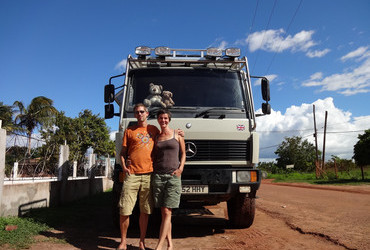 Betty (Hungary) and John (Britain) infront of their Burt - Lethem, Guyana