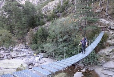 Spasimata suspension footbridge on the GR20 to cross the creek into the throats of Muvrella