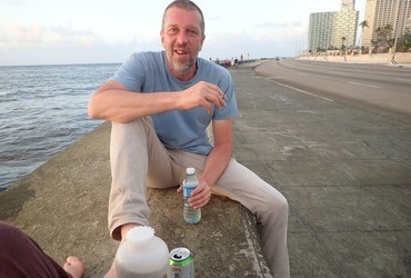 ​This is how you drink ron on the Malecon. The bottle is not water.​