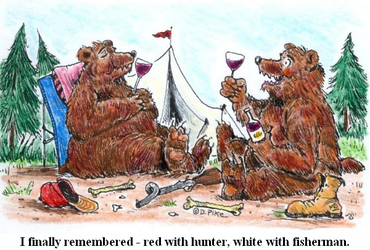 I finally remembered - red with hunter, white with fisherman. - Doug Pike