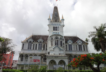 Gothic style City Hall 1888 front view - Georgetown, Guyana
