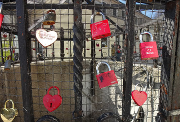 Love lock in front of St. Joseph church in Kahlenberg, Vienna