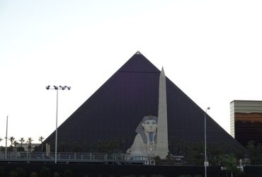 The Luxor with the sad Sphinx in front