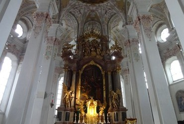 High altar with an altarpiece by Ulrich Loth depicting The Effusion of the Holy Ghost (1661), Church of the Holy Ghost, Munich, Bavaria, Germany