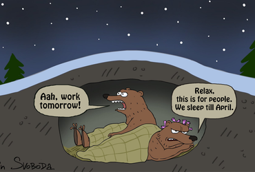 Aah, work tomorrow! - Relax, this is for people. We sleep till April - Sergey Elkin