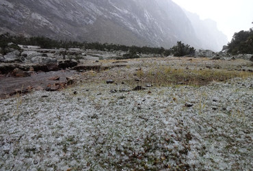 Hail is a common thing these days - Quebrada Cojup, Cordillera Blanca, Peru