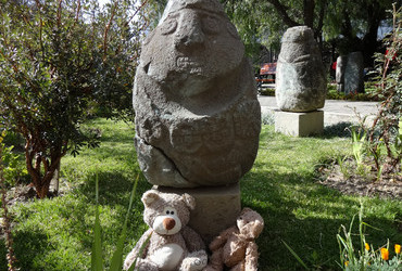 Monolith with Teddy Bears, the real thing - Huaraz, Peru