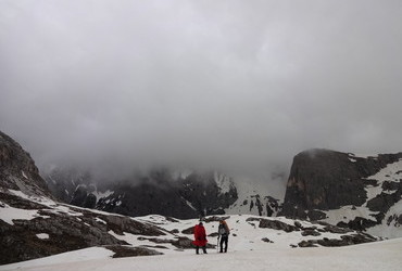 Sexton Dolomites - rain is added to the wind and fog