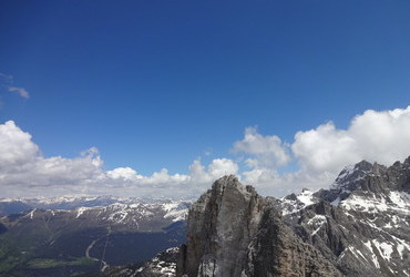 Sexton Dolomites - view from Oberbachernspitze, there is a cross on top of the next peak as well.