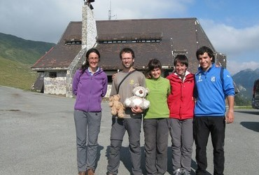 Trans Pyrenees 2013 - Refugio Belagua, Spain, These nice people gave us 4 bottles of water (sp. agua) when we most needed it