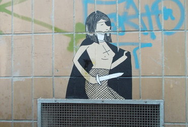 Antichrist with fishnet pantyhose - Vienna, Austria