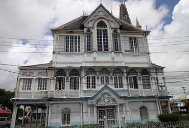 Gothic style City Hall 1888 side view - Georgetown, Guyana
